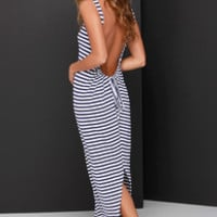 O'Neill Paris Navy Blue and Ivory Striped Maxi Dress