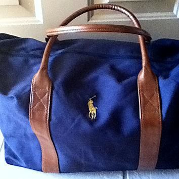 Polo Ralph Lauren Bag, Canvas & Leather Duffel Bag Logo Branded Luggage Gym Fitness Me