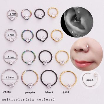 Sellsets 4pcs / set white black gold rainbow steel hoop earring daith tragus lip rook cartilage nose body piercing jewelry