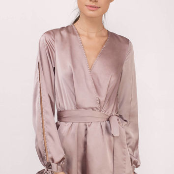 All Eyes On Me Satin Wrap Romper
