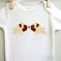 Baby clothes, pugs in love. Long or short sleeve. Your choice of size.