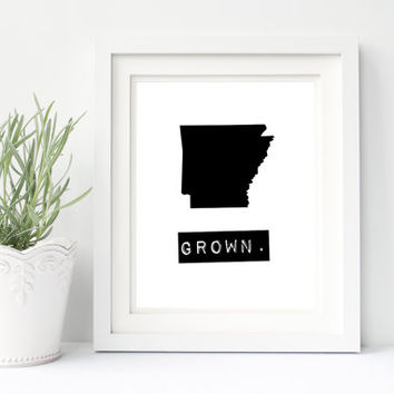 Arkansas print, custom map art, home state signs, black and white wall art, Arkansas sign Arkansas decor, Arkansas gifts, Arkansas map print