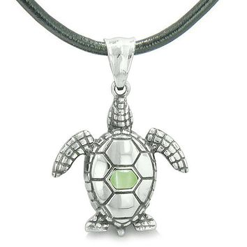 Amulet Sea Turtle Cute Lime Green Cat's Eye Crystal Lucky Charm Pendant on Leather Cord Necklace