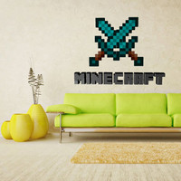 Full Color Wall Decal Vinyl Sticker Decor Art Bedroom Design Mural Like Paintings Minecraft Sword Logo Pickaxe Video Game (col533)