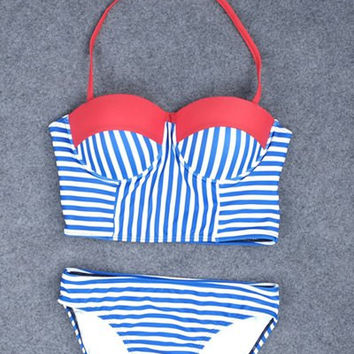 Blue and White Halter Push Up Striped Bikini Suit