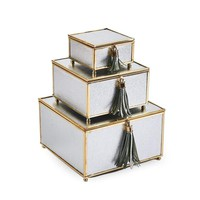 Phenomenal  Set Of 3 Storage Boxes With Tassel , Silver And Gold -Sagebrook Home