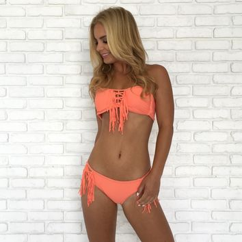Fringe To The End Bikini Set - Coral