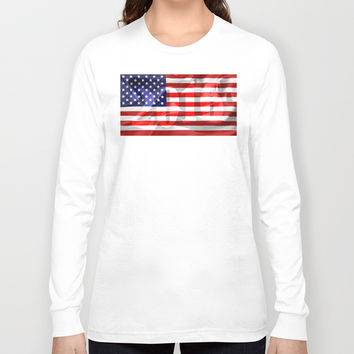 The Flag of the United States of America Long Sleeve T-shirt by Digital2real