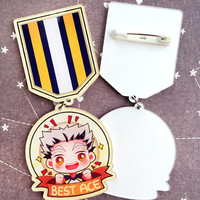 haikyuu best ace medal pin-ons from white rabbit cafe