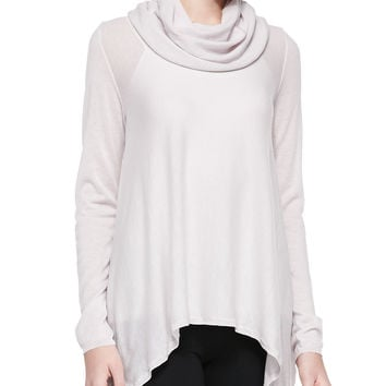 Draped Cowl-Neck Knit Top, Size: