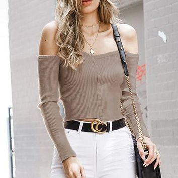 Cropped Sweater Women Solid Off Shoulder Ribbed Sweater Pullovers Casual Feminino Jumpers