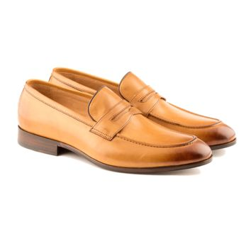 Carlo - Men's Handmade Penny Loafer Shoe In Tan Calf Leather - Free Shipping
