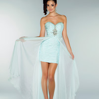 Mac Duggal 2013 Prom Dresses - Strapless Ice Blue Chiffon Dress with Rhinestone Embellishments