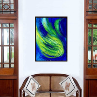 Storm waves Abstract painting Wall decor Blue acrylic art print large small  decal contemporary art gift for men sea beach water ocean green