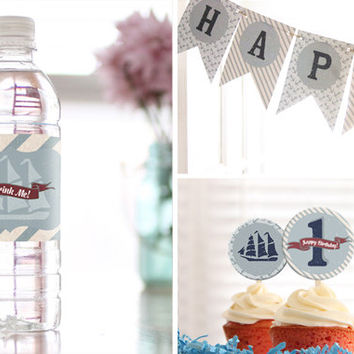 Nautical party decoration—COMPLETE PARTY PACKAGE—red white and blue sailor 1st birthday theme
