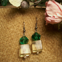 Geometric Dangle Earrings Green and Yellow Translucent Lucite Faceted Beads Goldtone Wire Christmas Green Elegant Holiday Fashion Jewelry