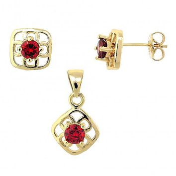 Gold Layered Earring and Pendant Adult Set, Flower Design, with Crystal, Gold Tone