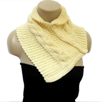 Scarf- Cream neckwarmer- Crochet scarf, Chunky Scarf, Wrap cowl, 4 Button scarf, Shoulder Warp