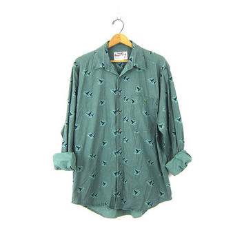 80s western Wrangler shirt Green Bird Print button down shirt Cotton Hipster cowboy vintage Men's size Large
