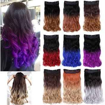 Ombre Clip In Hair Extensions Colorful Thick Wavy Curly 3/4 Full Head One Pieces
