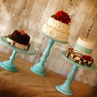 One Rustic Tall Pedestal Serving Cake Stand by RoxyHeartVintage