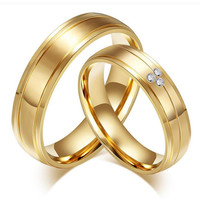 Trendy alliance titanium steel jewelry ring engagement wedding band promise couples lovers rings sets for men and women