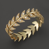 Mizuki 14K Yellow Gold Feather Eternity Band with Diamonds | Bloomingdales's