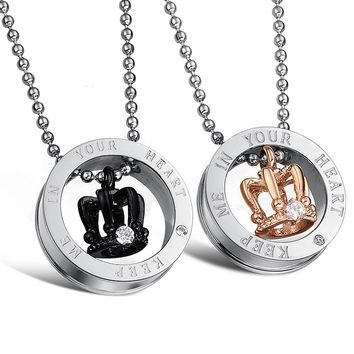 King   Queen Couple Necklace Glossy Titanium Steel Crown Pendant Necklace  Girlfriend Boyfriend Romantic Birthday Gift b82b4a49b1de