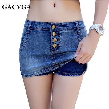 GACVGA 2017 Denim Skirt Vintage Slim Mini Denim Shorts Skirt Summer Simple Sexy Jeans Women Skirts Saia jupe femme
