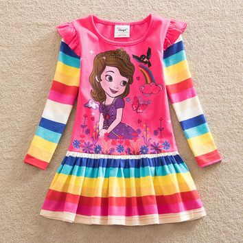 NEAT New style baby girl clothes sofia the first princess dress cute girls dress kids clothes Long sleeve children clothing Q920