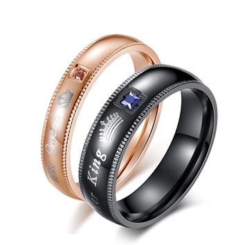 Queen and King Crown Ring for Women and Men Stainless Steel Wedding Engagement Couple Ring Blue Pink Stone Love Jewelry Ring