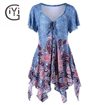 Plus Size 5XL Empire Waist Paisley Print Asymmetric Blouse Shirt Women Summer 2017 Tunic Ruffle Top Ladies Big Size Blusas