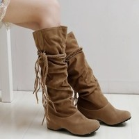 Lace-up Bohemian Style Long Boots Light Brown