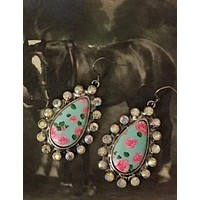 Floral Teardrop Rhinestone Earrings