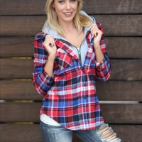 Plaid Top With Hoodie