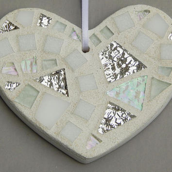 Mosaic Ornament, Heart, Shades of White + Iridescent Glass + Textured Silver Mirror, Handmade Stained Glass Mosaic Heart Ornament