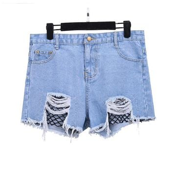 Dealbang High Waist Jeans American Apparel Elegant Plus Size Hole Denim Shorts Club Jeans Woman Summer Sexy Women High Waist