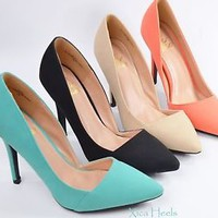 New Women's High Heel Pointed Classic Pumps Stiletto Side Cut Out  Heels
