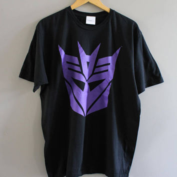 Transformers Decepticons Graphic Tee  Comics Japanese Cartoons Black Tee Vintage 90s Size M - L #T191A