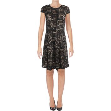 Aqua Womens Lace Overlay Cap Sleeves Cocktail Dress
