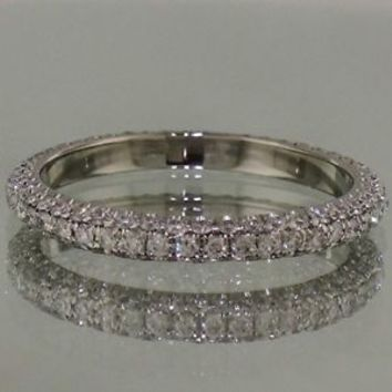 1 Ct 3 Row Micro Pave Eternity Band Wedding Anniversary Ring in 14K White Gold