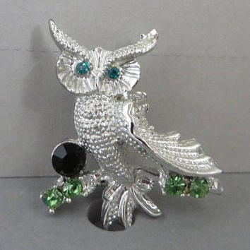 Silver Tone Owl Brooch, Vintage Rhinestone Studded Owl Pin, Holiday Gift Idea for Her