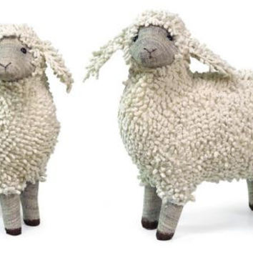 2 Sheep Figures - Chenille Sheep