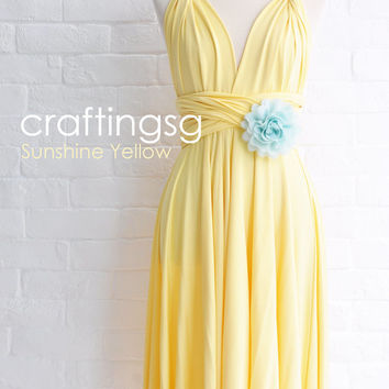 Bridesmaid Dress Infinity Dress Sunshine Yellow Knee Length Wrap Convertible Dress Wedding Dress