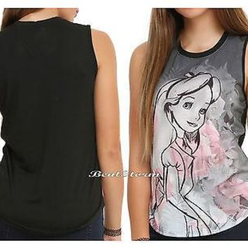 Licensed cool NEW Disney Alice In Wonderland Pink Roses Floral Muscle Tank Top Juniors S-L