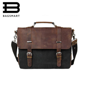 BAGSMART Vintage Men PU Leather Briefcase Handbag Fashion Satchel School Military Messenger Bags Casual 14'' Laptop Bags