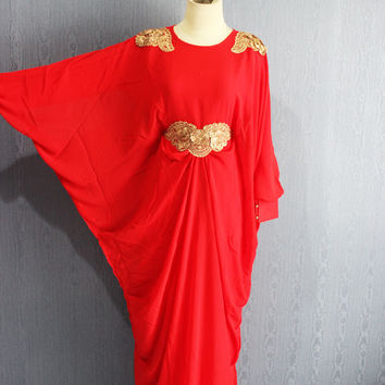 Fancy Red Afantee Kaftan Maxi Dress with lining Plus Size Soft Chiffon Caftan Maternity Dress, Maxi Dresses, Limited Edition Kaftans
