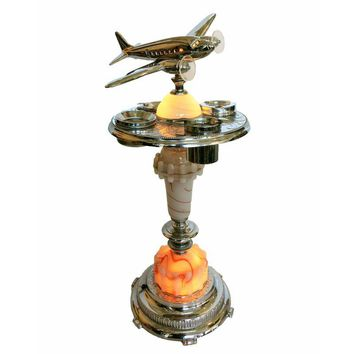 Pre-owned Art Deco Ashtray Stand with Light-Up Air Plane