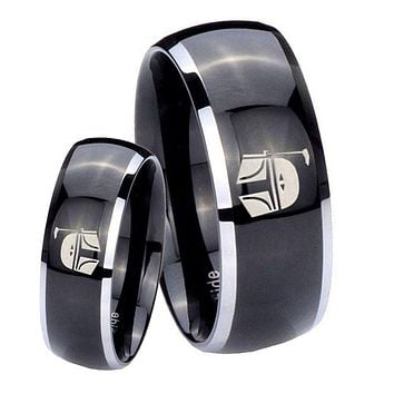 His Hers Gossy Black Dome Star Wars Boba Fett Sci Fi Science 2 Tone Tungsten Wedding Rings Set