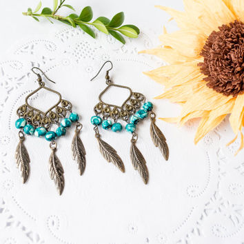 Chandelier Turquoise Earrings, beaded earrings, chandelier earrings, gypsy earrings, bohemian earrings, hippie earrings, large boho dangles